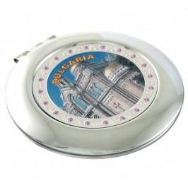 Сувенирно джобно огледало метал, декоративно капаче с лазерна инкрустация - Варна