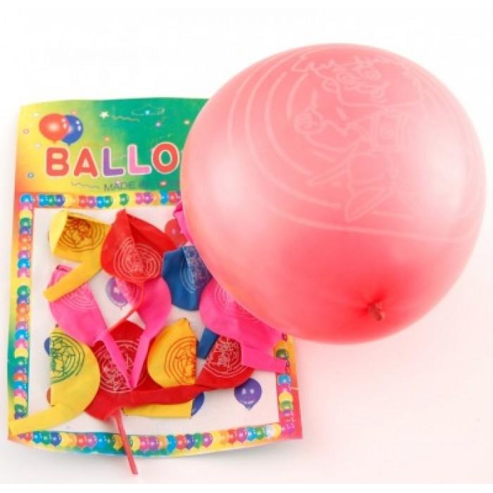 12 броя цветни балони с рисунка свирещи