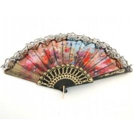 Сувенирно ветрило пластмаса и текстил цветен принт с декоративна дантела - 25см