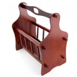 Дървена стойка за вестници с резбовани орнаменти