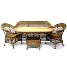 Комплект градински мебели - дърво и ратан - диван, маса и две кресла