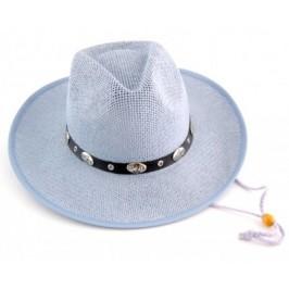 Лятна плетена дамска шапка с регулиращи връзки и кожен кант