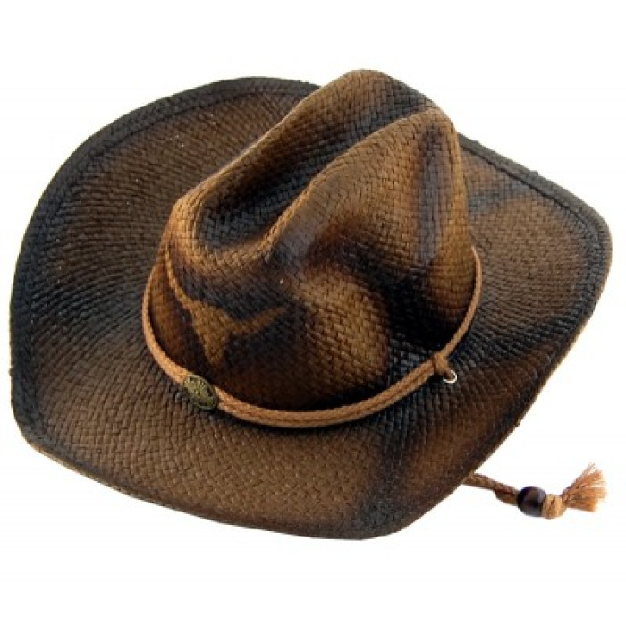 Лятна плетена шапка с регулиращи връзки, декоративен кант и щампа