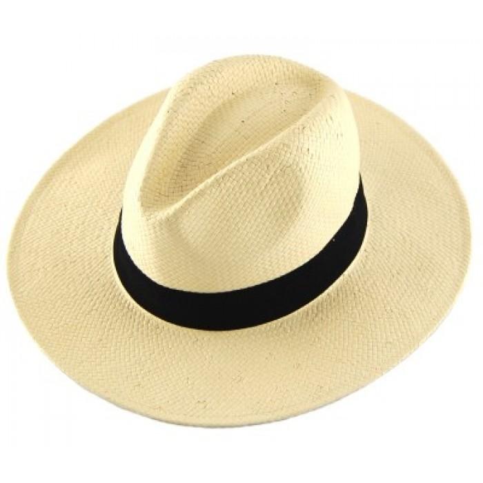 Плетена мъжка лятна шапка с текстилен кант