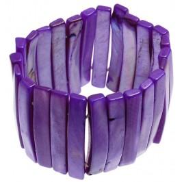 Гривна от плочки седеф на ластична основа - лилава