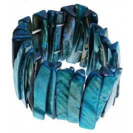 Гривна от плочки седеф на ластична основа - синя