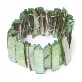 Гривна от плочки седеф на ластична основа - зелена