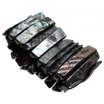 Гривна от плочки седеф на ластична основа - черна