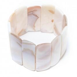 Гривна от плочки седеф на ластична основа - бяла