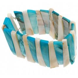 Гривна от плочки седеф - триъгълна на ластична основа - бяло и синьо