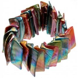Гривна от плочки цветен седеф на ластична основа