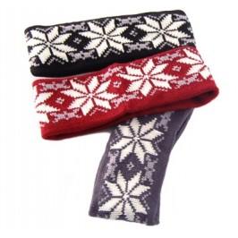 Плетена зимна лента за глава с тематичен десен