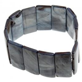 Гривна от плочки седеф на ластична основа - сива