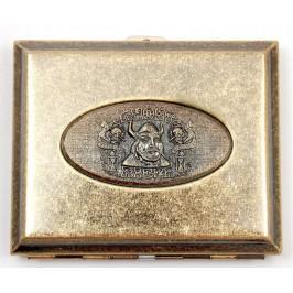Стилна метална табакера с релефна фигура за 20 цигари