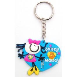 Сувенирен цветен ключодържател - момиче - 6см