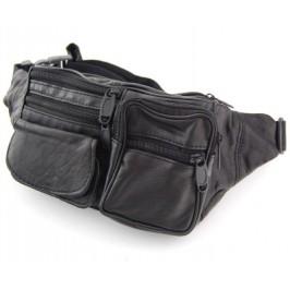Мъжка чанта - еко кожа за кръст, с регулируем колан, джобове и цип