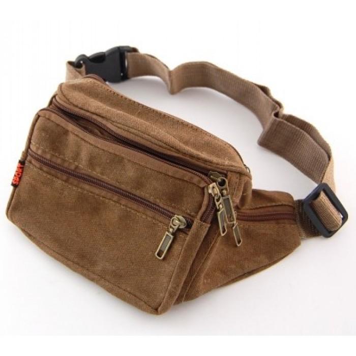 Мъжка чанта текстил за кръст, с регулируем колан, джобове и цип