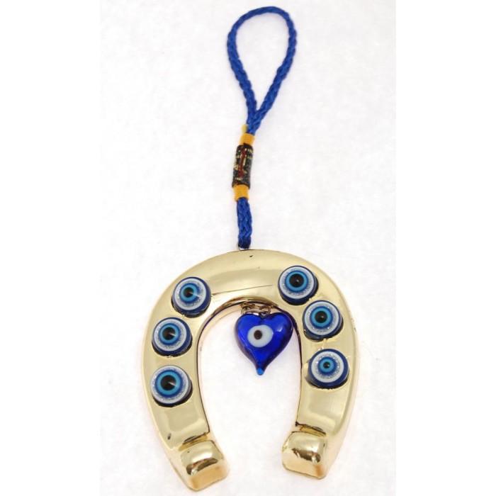 Сувенир синьо стъклено око - подкова - за окачване