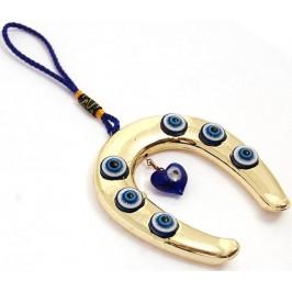 Сувенир синьо стъклено око - подкова за окачване