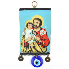 Тъкана икона текстил със синьо око (назар) - Исус с дете на ръце и цвете