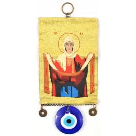 Тъкана икона текстил със синьо око (назар) - Дева Мария