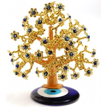 Сувенир синьо стъклено око - декоративно златисто дръвче