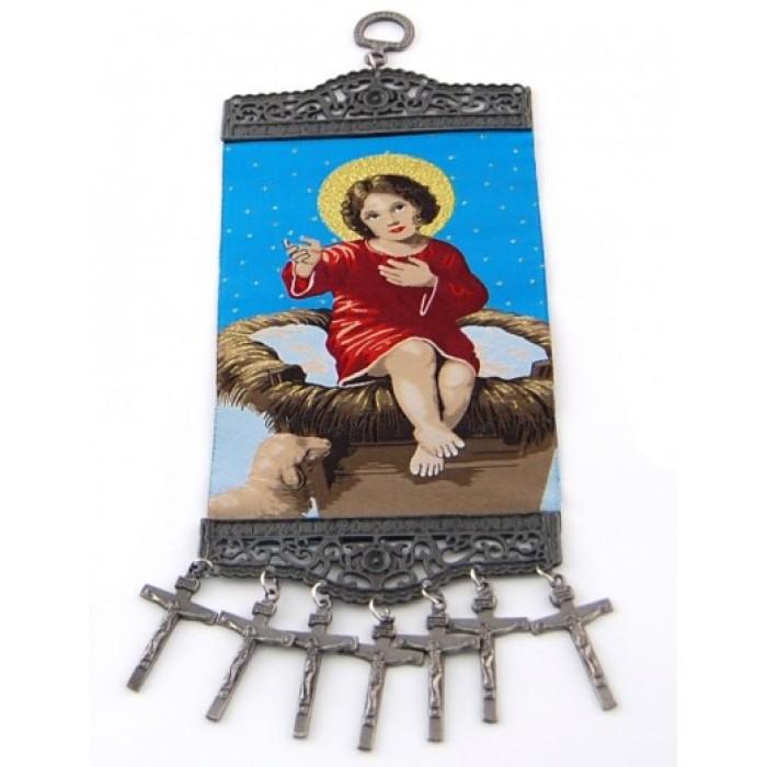 Тъкана икона текстил с метални орнаменти