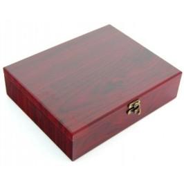 Луксозен комплект за вино от пет части - тирбушон, термометър, тапа, ринг и лиек, в масивна дървена кутия