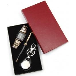Луксозен подаръчен комплект от химикал, мъжки часовник и ключодържател