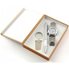 Луксозен подаръчен комплект - химикал, мъжки часовник и ключодържател