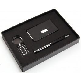 Луксозен подаръчен комплект от химикал, ключодържател и кожена кутия за визитки