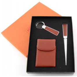Луксозен подаръчен комплект ключодържател, визитник и нож за писма