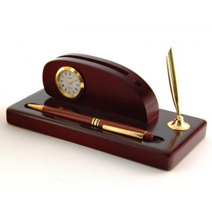Луксозен дървен комплект за бюро - визитник поставка, часовник и писалка