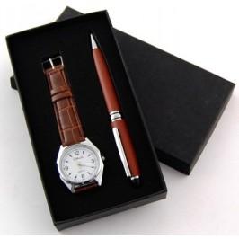 Луксозен подаръчен комплект химикал и мъжки часовник