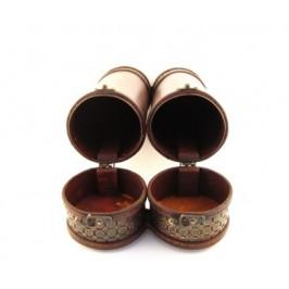 Красива кутия за вино от дърво и метал в античен стил, двойна