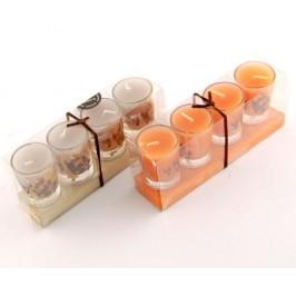 Комплект четири ароматни свещи в стъклени свещници - 4х3см
