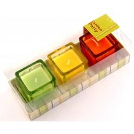 Комплект три ароматни свещи в свещници от цветно стъкло - 5х5см