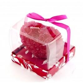 Ароматна свещ - форма сърце с рози - 7х5см