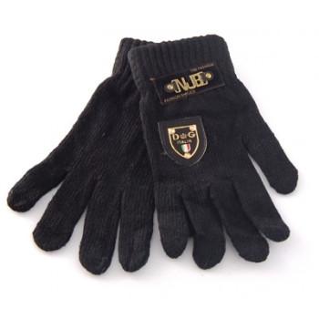 Плетени мъжки ръкавици с декоративна емблема