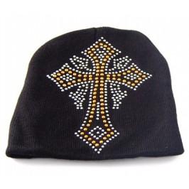 Младежка плетена зимна шапка с декоративна емблема от цветни капси