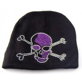 Младежка плетена зимна шапка с ефектна емблема от цветни капси