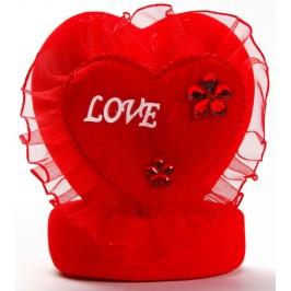 Декоративно музикално сърце от велур и нежен тюл с апликация Love