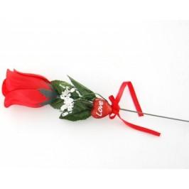 Стилна роза от плат с малко музикално меченце и в целофанена опаковка