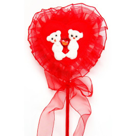 Червено сърце с декорация - рози от сатен, нежна дантела и две мечета