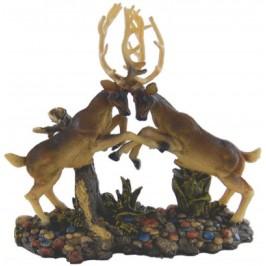 Декоративна фигура - гипс, два елена в бой, с поставка - 29х34см
