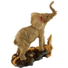 Декоративна фигура - гипс, ревящ слон, с поставка - 23х20см