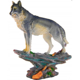 Декоративна фигура гипс - вълк върху скала с поставка