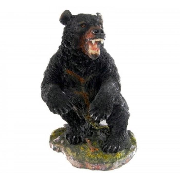 Декоративна фигура - гипс, мечка стръвница с поставка - 18х20см