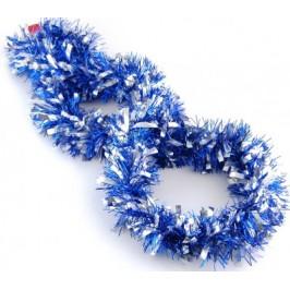 Коледна украса - двуцветен гирлянд от блестящи ленти цветно фолио и сребристи панделки
