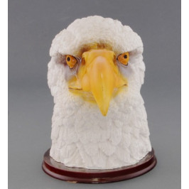 Декоративна фигура - гипс, глава на орел с поставка - 18х20см